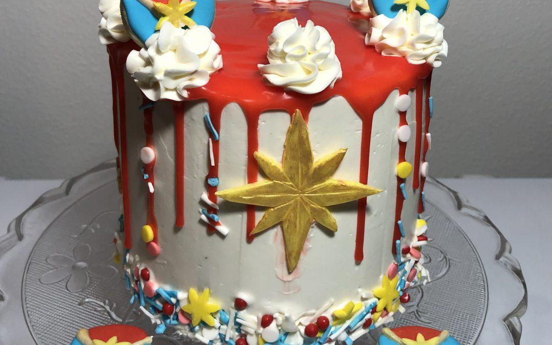 Captain Marvel Oreo Cake with Swiss Meringue Frosting